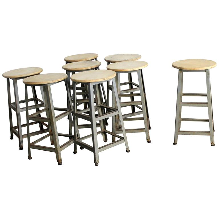 Counter Height Stools Vintage Patinated Steel For