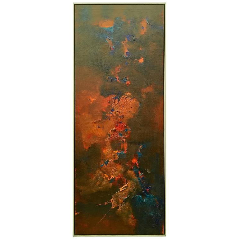 Abstract Oil on Canvas Signed R. Roehrenbeck-Saturday Sale For Sale