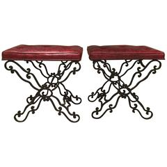 Pair of Continental Wrought Iron Benches or Ottomans