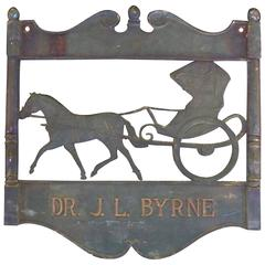 Figural Bronze Dr. Sign with Horse and Buggy, 19th Century