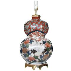 Large Japanese Double Gourd Imari Fine Porcelain Lamp, Circa 1970