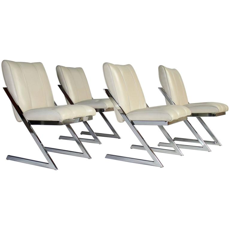 "Style of Milo Baughman ""Z- Frame"" Dining Chairs, Set of Four, by Contempo 1"