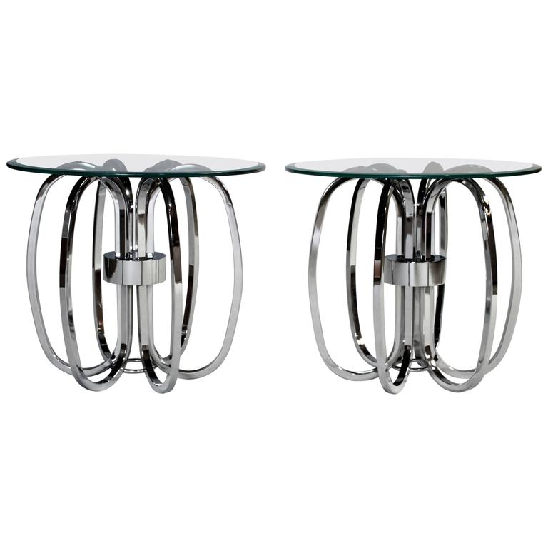 Milo Baughman Style Chrome Ring Glass Top Tables, Pair For Sale