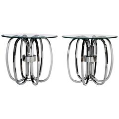 Milo Baughman Style Chrome Ring Glass Top Tables, Pair