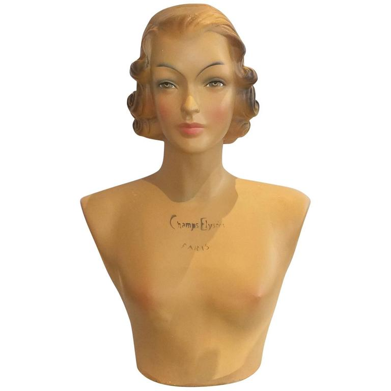 French Midcentury Fashion Mannequin Bust