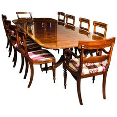 Flame Mahogany Regency Style Dining Table and Set of Ten Chairs