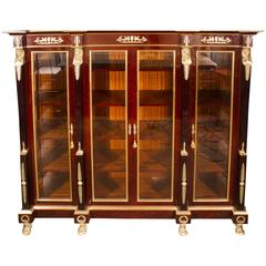 Empire Style Flame Mahogany and Ormolu-Mounted Bookcase