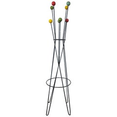 French Architectural Coat Rack Stand by Roger Feraud, Mid-Century, 1950s