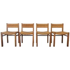 Documented French Rush Dining Chairs by Pierre Gautier-Delaye, 1954, Set of Four