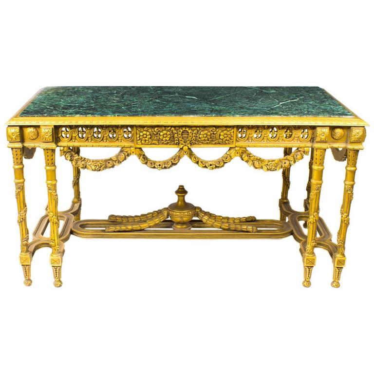 Vintage Louis Revival Giltwood U0026 Verde Antico Marble Centre Table, 20th  Century For Sale