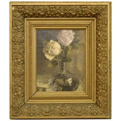 Oil on Panel of Roses in Vase