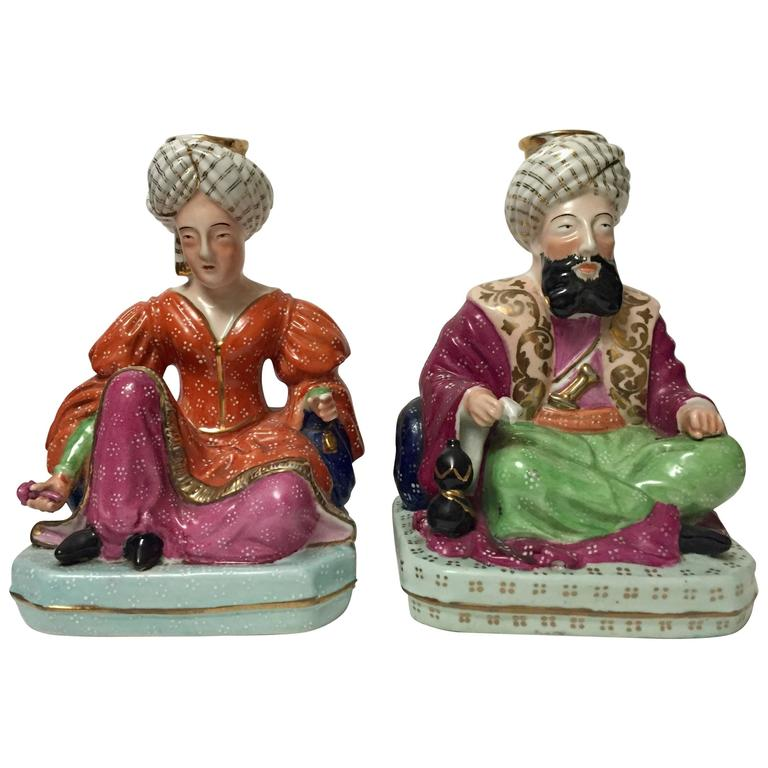 Pair of 19th Century Jacob Petit Figural Scent Bottles of a Sultan and Sultana
