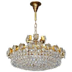 Modernist Gilt Brass Faceted Crystal Glass Chandelier by Palwa Germany, 1960