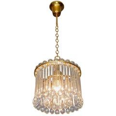 Signed Palwa Mid-Century Chandelier Gilt Brass Murano Crystal Glass Drops 1960s