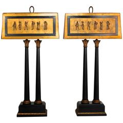 Pair of 1950s Camp Classical Double Column Lamps with Embellished Shades