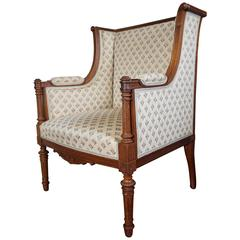 Antique Louis XVI Style Hand Carved Nutwood Ladies Bergere Small Armchair