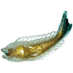 Flavio Poli Murano Glass Fish for Archimede Seguso 1937 Bullicante with Gold