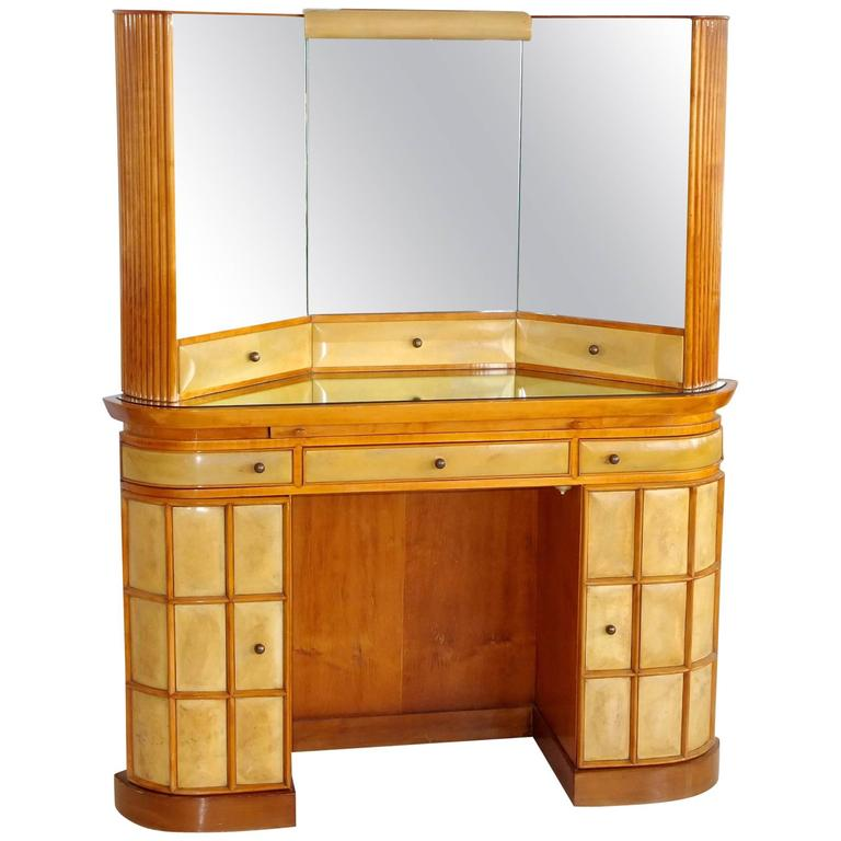 Italian Art Deco Secretary Vanity Dressing Table Attributed to Paolo Buffa For Sale