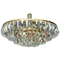Fine Large Palwa Chandelier Gilt Brass Faceted Crystal Glass Five-Tiers, 1960s