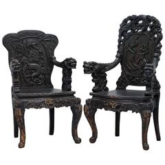 Pair 19th Century Qing Dynasty Carved Rosewood Chinese Dragon Throne Chairs