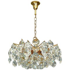 Noble Palwa Chandelier Mid-Century Gilt Brass Faceted Crystal Glass Sputnik 1960