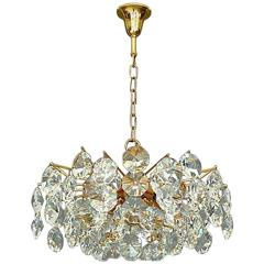 Noble Mid-Century Gilt Brass Faceted Crystal Glass Sputnik Chandelier by Palwa