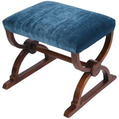 Oak, Re-Upholstered Stool, English, 1920s
