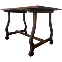 19th Century Spanish Baroque Trestle-Refectory Table on Lyre-Shaped Legs