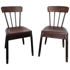 Pair of French Metal and Oak Chairs Attributed to Albert Armand Rateau, 1929