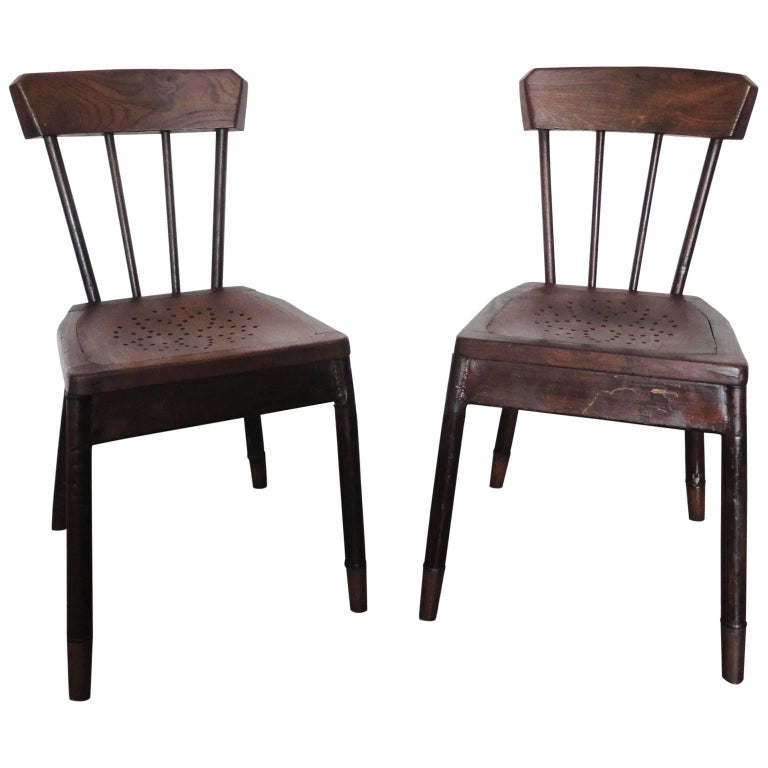 Pair of French Metal and Oak Chairs Attributed to Albert Armand Rateau, 1929 For Sale