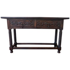 Early 19th Century Carved Walnut Wood Spanish Console Table