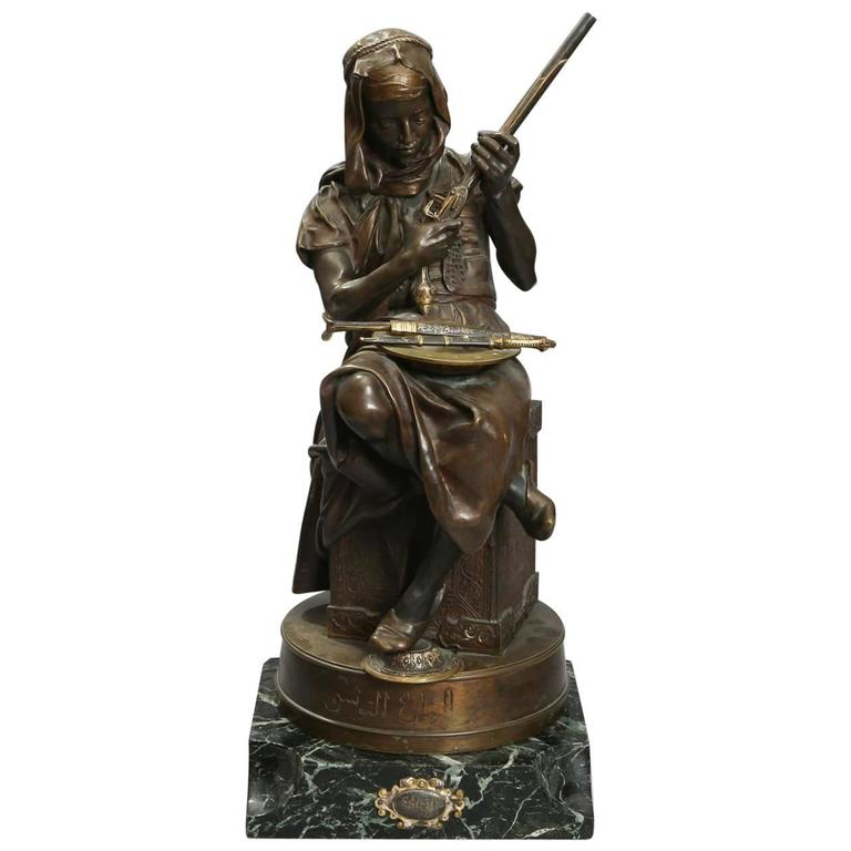 19th Century Bronze Sculpture on Its Marble Stand, the Tunisian Arms Merchant