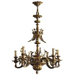 Empire Style Solid Fire-Gilded Bronze Five-Arm Chandelier, circa 1880