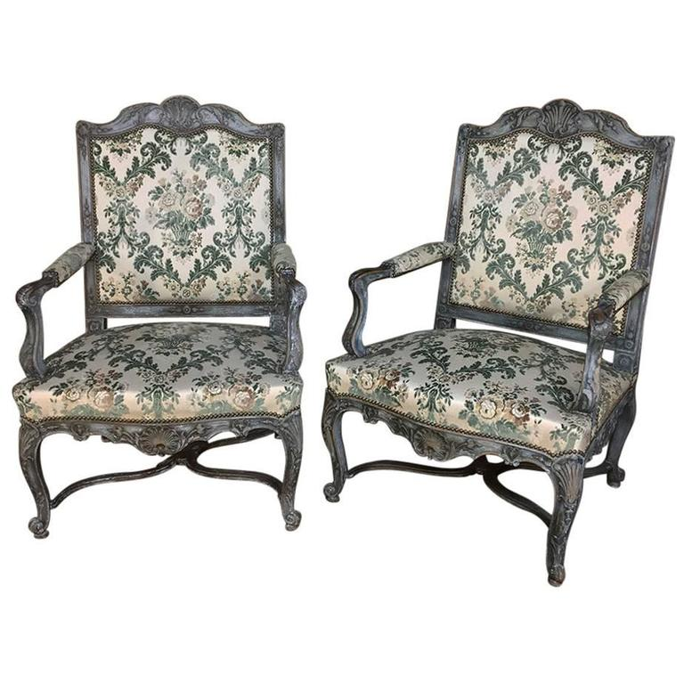 Pair of 19th Century French Louis XIV Painted Armchairs For Sale