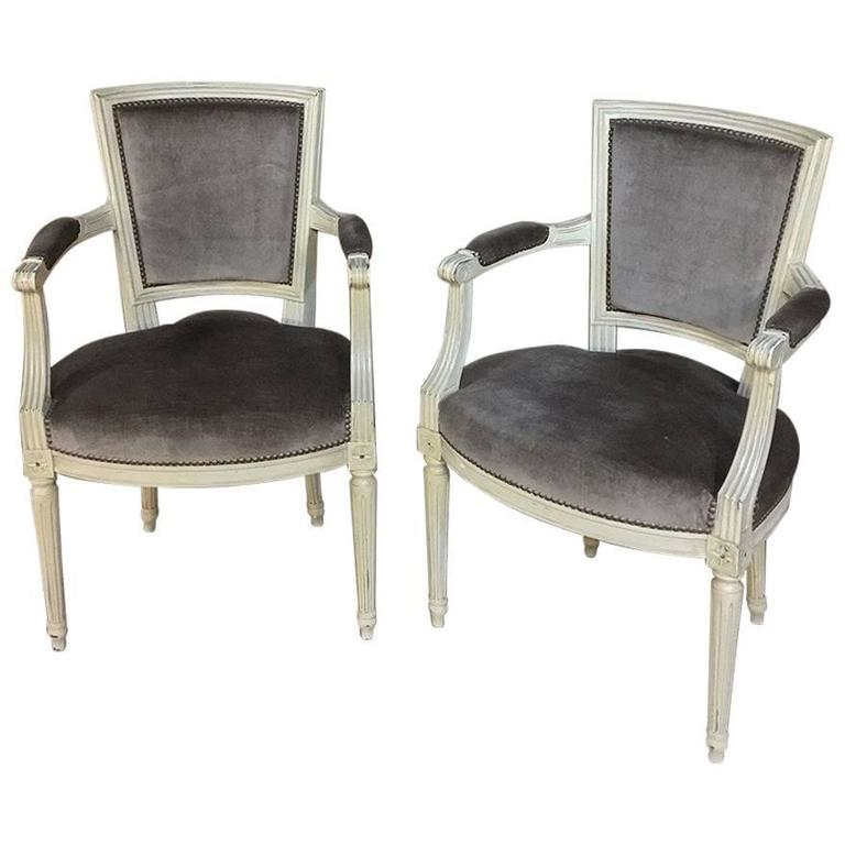 Pair of 19th Century French Louis XVI Painted Armchairs