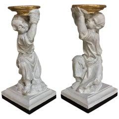 Pair of 19th Century Italian Painted Statues of Cherubs
