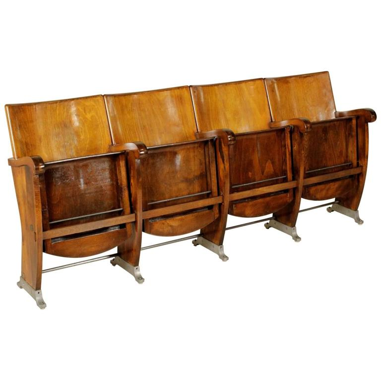 Elegant Row Of Cinema Chairs With Folding Seat Beech Wood Plywood Vintage, Italy,  60s 1