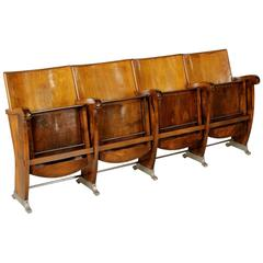 Row of Cinema Chairs with Folding Seat Beech Wood Plywood Vintage, Italy, 60s
