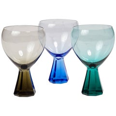 Mid-Century Modern Faceted Colored Cocktail Glass Set
