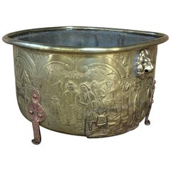 19th Century Embossed Brass Jardinière, Planter