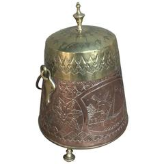 19th Century Embossed Brass and Copper Kindling Bucket Planter