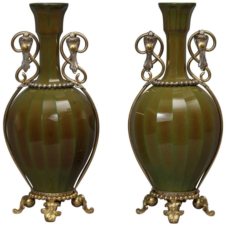 Pair of Lithyalin Green Glass Vases, French, circa 1890