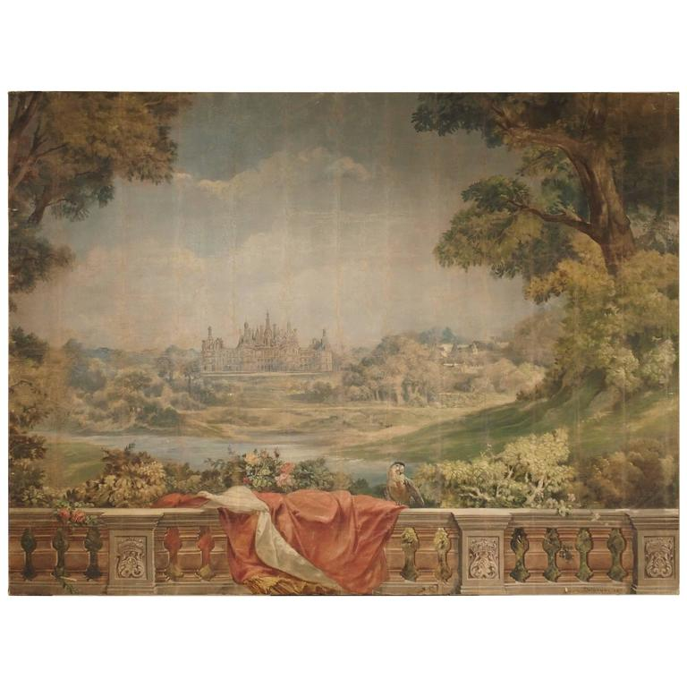 Large Antique Boiserie Painting, Chateau Chambord, Germain Detanger 1893 For Sale