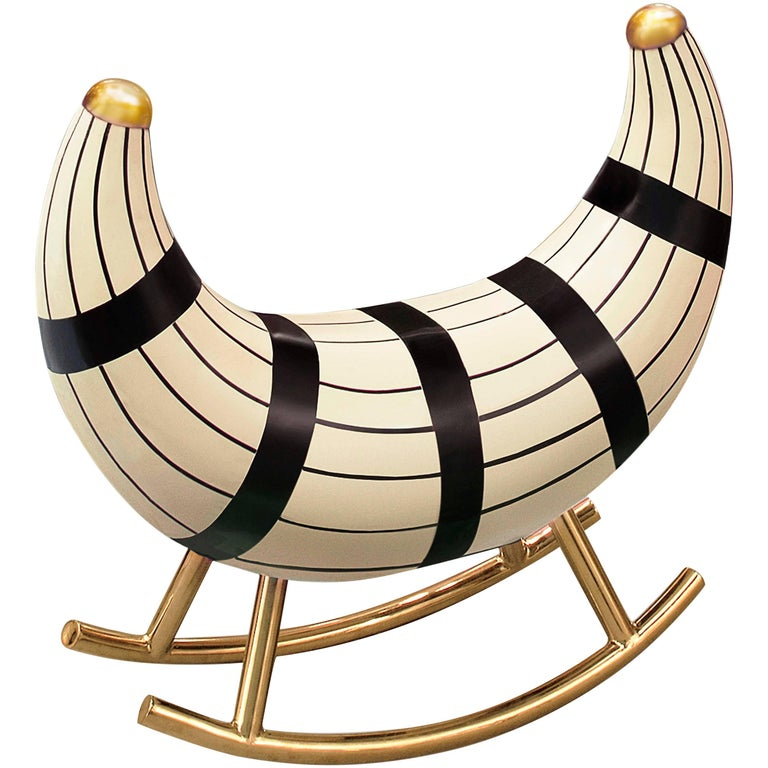 Nanook of the North Rocking Seat with metal legs in gold in MDF, Plywood & Resin For Sale