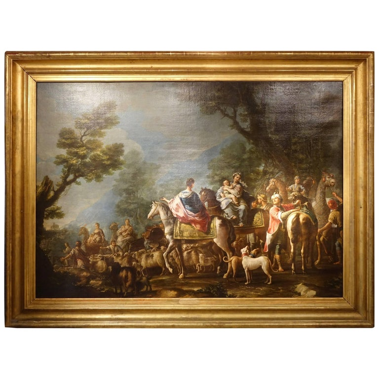 Jacob Returns to Canaan, Oil on Canvas Attributed to Charles Amedée Van Loo For Sale
