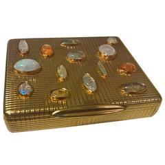 Art Deco Gilded Silver Cigarette Box with Opals