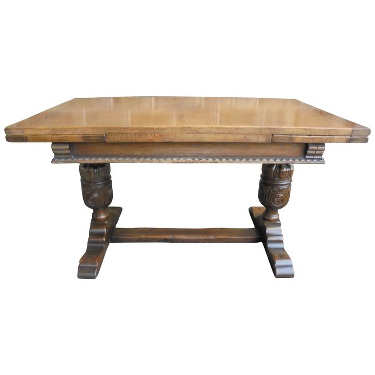 Quality antique carved oak extending refectory dining for Good quality dining tables