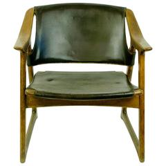 Scandinavian Modern Leather Lounge Chair by Edvin Helseth
