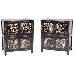 Pair of Chinese Cloud and Phoenix Painted Chests