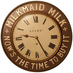 Original Mikmaid Milk Advertising Clock, from 1890 by the A.S.C.M Co
